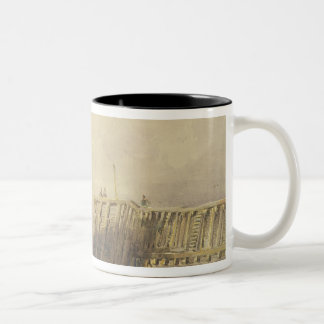 Seascape with Sailing Barges and Figures Wading Of Two-Tone Coffee Mug