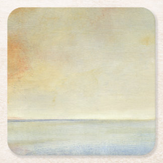 Seascape with Tranquil Orange Sunset Square Paper Coaster