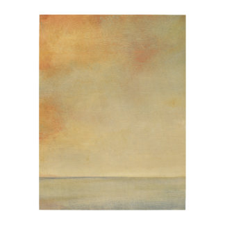 Seascape with Tranquil Orange Sunset Wood Print