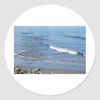 Seascape with waves and poem round sticker