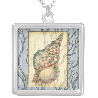 Seashell and Tree Branches Silver Plated Necklace