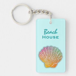 Seashell Art Blue Beach House Keys Key Ring