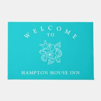 Seashell Art Turquoise Name Template Welcome Mat