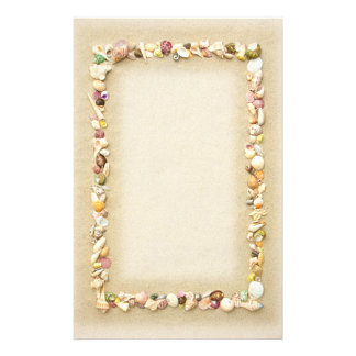 Seashell Beach Sand Border Stationery