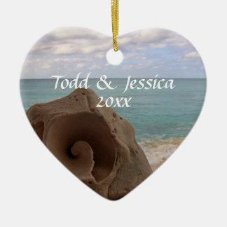 Seashell Beach Theme Wedding 1st Christmas Ceramic Heart Decoration