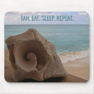 Seashell Beach Vacation Tropical | Tan Eat Sleep Mouse Mat