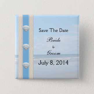 Seashell Beach Wedding Save The Date 15 Cm Square Badge