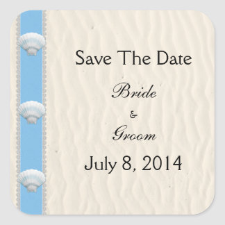 Seashell Beach Wedding Save The Date Square Sticker