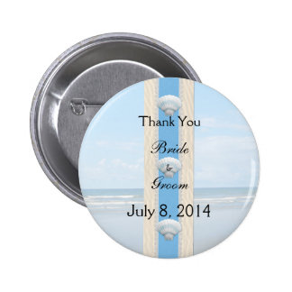 Seashell Beach Wedding Thank You 6 Cm Round Badge