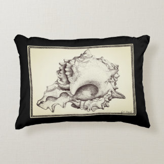 """""""seashell"""" black and cream accent pillow"""