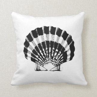 Seashell - black and white throw pillow