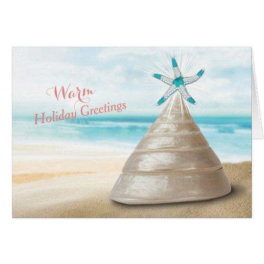 Seashell Christmas Tree Warm Greetings Message Card