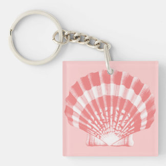 Seashell - coral pink and white key ring