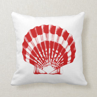 Seashell - deep red and white cushion