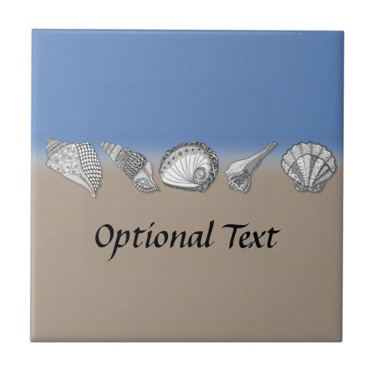 Seashell Drawing Art Small Square Tile
