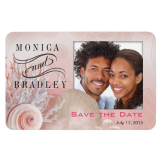Seashell Dreams Beach Photo Save the Date pink Rectangular Magnet