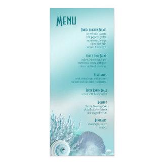 Seashell Dreams Beach Wedding Menu aqua 4x9.25 Paper Invitation Card