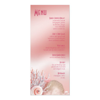 Seashell Dreams Beach Wedding Menu pink Personalized Invite