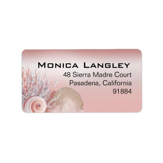Seashell Dreams Beach Wedding pink Label