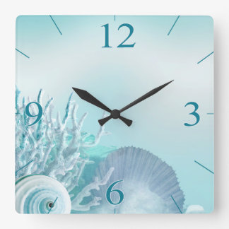 Seashell Dreams Tropical Beach | aqua Wall Clocks