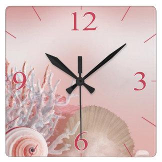 Seashell Dreams Tropical Beach | pink Square Wall Clock