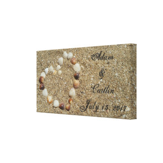 Seashell Heart on the Beach Wedding Canvas