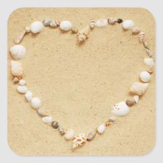 Seashell Heart Square Stickers
