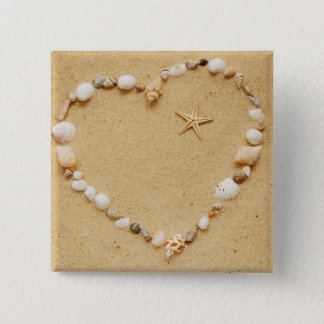 Seashell Heart with Starfish 15 Cm Square Badge