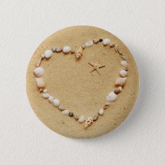 Seashell Heart with Starfish 6 Cm Round Badge