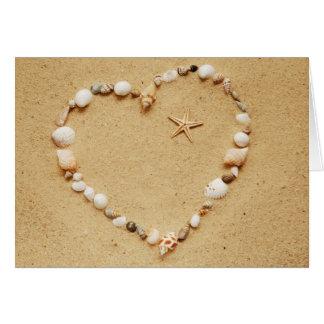 Seashell Heart with Starfish Card