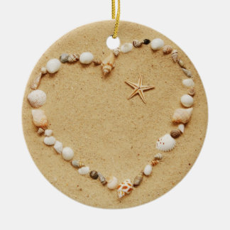 Seashell Heart with Starfish Christmas Ornament