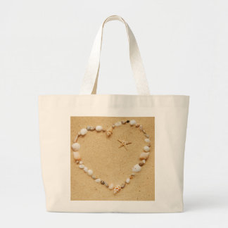 Seashell Heart with Starfish Jumbo Tote Bag