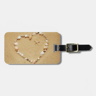 Seashell Heart with Starfish Luggage Tag