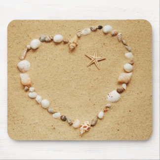 Seashell Heart with Starfish Mouse Mat