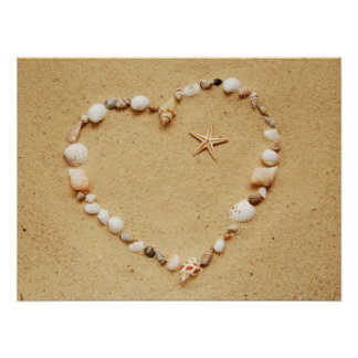 Seashell Heart with Starfish Poster