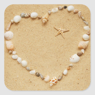Seashell Heart with Starfish Square Sticker