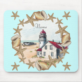 Seashell Lighthouse Mouse Pad