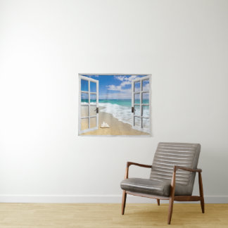 Seashell On Beach Wall Hanging Tapestry