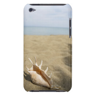 Seashell on sandy beach barely there iPod cover
