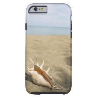 Seashell on sandy beach tough iPhone 6 case