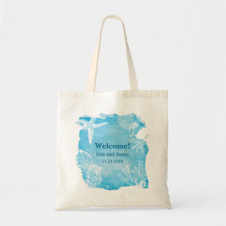 Seashell on Watercolor Canvas Bag