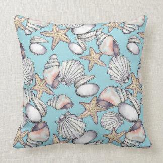 Seashell Pattern Pillow-Coastal Decor-Sea Shells Throw Pillow