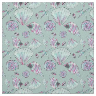 Seashell Patterned Fabric-with turquoise, pink white and aqua whelks, clams, sea snails and starfish