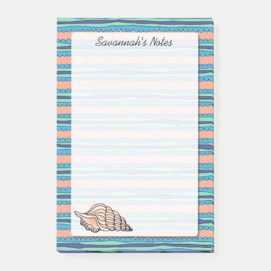 Seashell Personalised 4 x 6 Post-it Notes