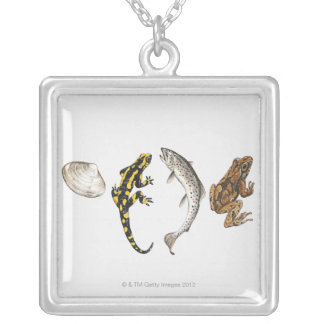 Seashell, Salamander, Salmon Silver Plated Necklace