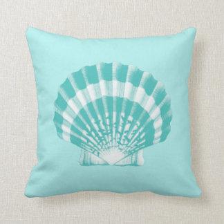 Seashell - soft aqua and white throw pillow