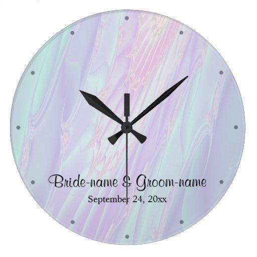 Seashell style pattern wedding wall clock zazzle for Seashell wall clock