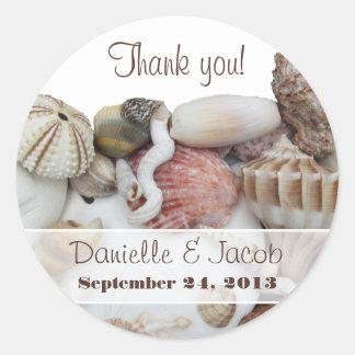 Seashell Treasures Personalized Round Label
