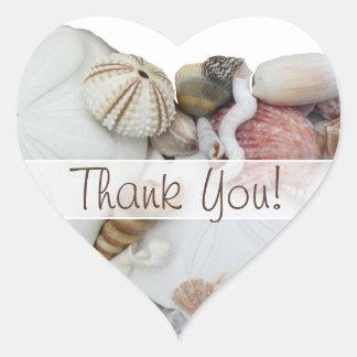 """Seashell Treasures """"Thank You"""" Heart Favor Label"""
