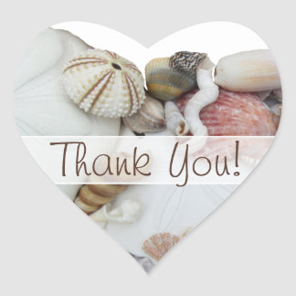 "Seashell Treasures ""Thank You"" Heart Favour Label Heart Stickers"